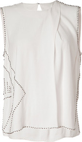 Creme Embellished Top - pattern: plain; sleeve style: sleeveless; predominant colour: white; occasions: casual, evening; length: standard; style: top; fibres: viscose/rayon - 100%; fit: body skimming; neckline: crew; back detail: longer hem at back than at front; sleeve length: sleeveless; texture group: silky - light; pattern type: fabric; embellishment: studs