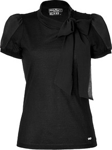 Black Cotton/Silk Tie Neck Top - pattern: plain; neckline: pussy bow; predominant colour: black; occasions: evening, work; length: standard; style: top; fibres: silk - mix; fit: body skimming; sleeve length: short sleeve; sleeve style: standard; texture group: silky - light; pattern type: fabric