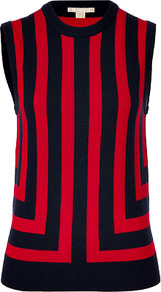 Navy/Red Striped Sleeveless Cashmere Top - pattern: vertical stripes; sleeve style: sleeveless; predominant colour: true red; secondary colour: navy; occasions: casual, work; length: standard; style: top; fit: straight cut; neckline: crew; fibres: cashmere - 100%; sleeve length: sleeveless; texture group: knits/crochet; trends: striking stripes; pattern type: fabric; pattern size: standard