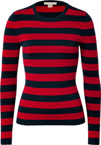 Red/Navy Striped Cashmere Pullover - pattern: horizontal stripes; style: standard; predominant colour: true red; secondary colour: navy; occasions: casual; length: standard; fit: slim fit; neckline: crew; fibres: cashmere - 100%; sleeve length: long sleeve; sleeve style: standard; texture group: knits/crochet; trends: striking stripes; pattern type: knitted - fine stitch; pattern size: standard