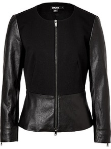 Black Leather/Cotton Jacket - pattern: plain; style: single breasted blazer; collar: round collar/collarless; fit: slim fit; predominant colour: black; occasions: casual, evening; length: standard; fibres: leather - 100%; waist detail: peplum detail at waist; sleeve length: long sleeve; sleeve style: standard; texture group: cotton feel fabrics; collar break: high; pattern type: fabric