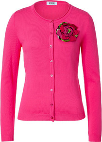 Hot Pink Cotton Cardigan With Flower Brooch - neckline: round neck; pattern: plain; bust detail: added detail/embellishment at bust; predominant colour: hot pink; occasions: casual, work, occasion; length: standard; style: standard; fibres: cotton - 100%; fit: slim fit; sleeve length: long sleeve; sleeve style: standard; texture group: knits/crochet; trends: fluorescent; pattern type: knitted - fine stitch; embellishment: corsage