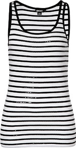 White/Black Sequined Stripe Cotton Tank Top - pattern: plain; sleeve style: sleeveless; style: vest top; predominant colour: black; occasions: casual, evening, holiday; length: standard; neckline: scoop; fibres: cotton - 100%; fit: straight cut; sleeve length: sleeveless; pattern type: fabric; pattern size: standard; texture group: jersey - stretchy/drapey; embellishment: sequins