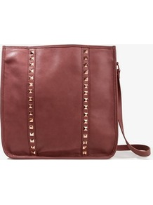Studded Messenger Bag - predominant colour: burgundy; occasions: casual, evening, work; type of pattern: light; style: shoulder; length: across body/long; size: small; material: faux leather; embellishment: studs; pattern: plain, vertical stripes; finish: plain