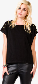 Spiked Knit Top - pattern: plain; style: t-shirt; predominant colour: black; secondary colour: black; occasions: casual, evening; length: standard; fibres: cotton - stretch; fit: straight cut; neckline: crew; shoulder detail: added shoulder detail; sleeve length: short sleeve; sleeve style: standard; texture group: knits/crochet; embellishment: studs