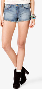 Destroyed Frayed Denim Shorts - pattern: plain; style: shorts; waist: low rise; pocket detail: traditional 5 pocket; length: short shorts; predominant colour: pale blue; occasions: casual, holiday; fibres: cotton - stretch; texture group: denim; fit: skinny/tight leg; pattern type: fabric