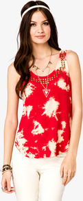 Strappy Cutout Bleached Top - sleeve style: sleeveless; bust detail: added detail/embellishment at bust; style: vest top; pattern: tie dye; predominant colour: true red; occasions: casual; length: standard; neckline: scoop; fibres: viscose/rayon - 100%; fit: body skimming; sleeve length: sleeveless; texture group: cotton feel fabrics; pattern type: fabric; pattern size: standard; embellishment: studs
