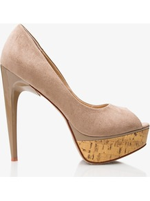 Printed Cork Peeptoe Heels - predominant colour: taupe; occasions: evening, occasion; material: suede; heel: platform; toe: open toe/peeptoe; style: courts; finish: plain; pattern: plain; heel height: very high