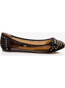 Studded Clear Ballet Flats - predominant colour: black; occasions: casual, evening; material: suede; heel height: flat; embellishment: studs; toe: round toe; style: ballerinas / pumps; finish: plain; pattern: plain; secondary colour: clear