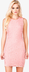 Floral Lace Sheath Dress - style: shift; length: mid thigh; neckline: round neck; fit: tailored/fitted; pattern: plain; sleeve style: sleeveless; predominant colour: pink; occasions: evening, occasion; fibres: polyester/polyamide - 100%; sleeve length: sleeveless; texture group: lace; pattern type: fabric