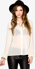 Round Collar Chiffon Shirt - pattern: plain; neckline: high neck; style: shirt; predominant colour: ivory; occasions: casual; length: standard; fibres: polyester/polyamide - 100%; fit: body skimming; sleeve length: long sleeve; sleeve style: standard; texture group: sheer fabrics/chiffon/organza etc.; pattern type: fabric