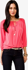 Essential Self Tie Top - neckline: round neck; pattern: plain; predominant colour: coral; occasions: casual; length: standard; style: top; fibres: polyester/polyamide - 100%; fit: loose; sleeve length: 3/4 length; sleeve style: standard; pattern type: fabric; texture group: jersey - stretchy/drapey
