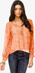 Chiffon Floral Print Shirt - neckline: round neck; style: blouse; predominant colour: bright orange; occasions: casual; length: standard; fibres: polyester/polyamide - 100%; fit: loose; sleeve length: long sleeve; sleeve style: standard; texture group: sheer fabrics/chiffon/organza etc.; trends: high impact florals; pattern type: fabric; pattern size: small &amp; busy; pattern: florals