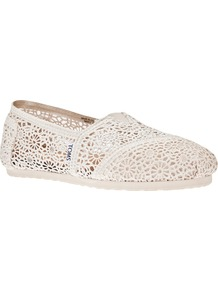 Crochet Slipper - predominant colour: ivory; occasions: casual, holiday; material: plastic/rubber; heel height: flat; toe: round toe; style: loafers; finish: plain; pattern: plain