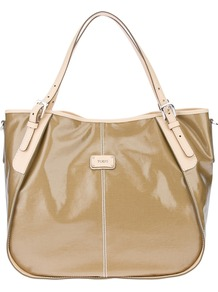 Patent Tote - predominant colour: camel; occasions: casual, evening, work; type of pattern: standard; style: tote; length: handle; size: standard; material: leather; pattern: plain, two-tone; finish: patent; embellishment: buckles