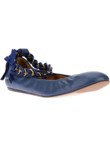 Chain Ankle Strap Ballerina - predominant colour: navy; occasions: casual, evening, holiday; material: leather; heel height: flat; ankle detail: ankle strap; toe: round toe; style: ballerinas / pumps; finish: plain; pattern: plain; embellishment: chain/metal