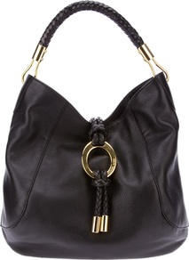 &#x27;Skorpios&#x27; Tote - predominant colour: black; occasions: casual, evening, work; type of pattern: standard; style: tote; length: handle; size: standard; material: leather; embellishment: tassels, chain/metal; pattern: plain; finish: plain
