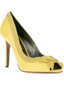 Bow Peep Toe Pump - predominant colour: primrose yellow; occasions: evening, occasion, holiday; material: leather; heel height: high; heel: stiletto; toe: open toe/peeptoe; style: courts; finish: plain; pattern: plain; embellishment: bow