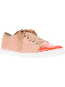 Tonal Trainer - predominant colour: pink; secondary colour: bright orange; occasions: casual, holiday; material: leather; heel height: flat; toe: round toe; style: trainers; trends: sporty redux; finish: plain; pattern: plain; embellishment: toe cap