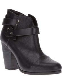 Ankle Boot With Straps - predominant colour: black; occasions: casual, evening; material: leather; heel height: high; embellishment: studs; heel: block; toe: round toe; boot length: ankle boot; style: standard; finish: plain; pattern: plain
