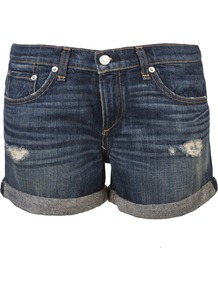 The 'Boyfriend' Short - pattern: plain; style: shorts; pocket detail: traditional 5 pocket; length: mid thigh shorts; waist: mid/regular rise; predominant colour: denim; occasions: casual, holiday; fibres: cotton - 100%; jeans & bottoms detail: turn ups; texture group: denim; fit: straight leg; pattern type: fabric