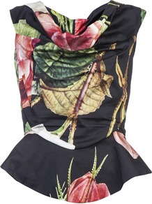 Floral Top - neckline: cowl/draped neck; sleeve style: sleeveless; waist detail: peplum waist detail; bust detail: ruching/gathering/draping/layers/pintuck pleats at bust; predominant colour: black; occasions: evening, occasion; length: standard; style: top; fibres: cotton - 100%; fit: body skimming; sleeve length: sleeveless; texture group: cotton feel fabrics; pattern type: fabric; pattern size: big &amp; busy; pattern: florals; secondary colour: dusky pink