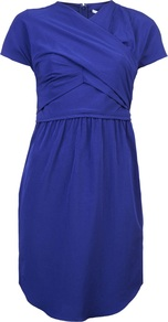 Crepe Dress - style: shift; pattern: plain; bust detail: ruching/gathering/draping/layers/pintuck pleats at bust; predominant colour: royal blue; occasions: evening, occasion; length: just above the knee; fit: body skimming; fibres: polyester/polyamide - mix; neckline: crew; sleeve length: short sleeve; sleeve style: standard; texture group: crepes; pattern type: fabric