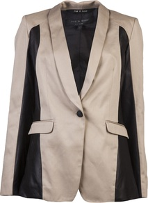 Jefferson Blazer - style: single breasted blazer; length: below the bottom; collar: standard lapel/rever collar; predominant colour: stone; secondary colour: black; occasions: evening, occasion; fit: tailored/fitted; fibres: nylon - mix; back detail: back vent/flap at back; sleeve length: long sleeve; sleeve style: standard; texture group: structured shiny - satin/tafetta/silk etc.; collar break: low/open; pattern type: fabric; pattern size: big & light; pattern: colourblock