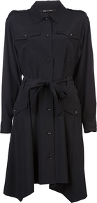 Miller Shirt Dress - style: shirt; neckline: shirt collar/peter pan/zip with opening; pattern: plain; waist detail: belted waist/tie at waist/drawstring; predominant colour: black; occasions: casual, evening, work; length: just above the knee; fit: body skimming; sleeve length: long sleeve; sleeve style: standard; texture group: silky - light; pattern type: fabric; fibres: silk - stretch