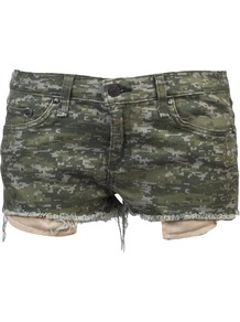 'Mila' Cut Off Short - style: shorts; pocket detail: traditional 5 pocket; length: short shorts; waist: mid/regular rise; predominant colour: khaki; secondary colour: mid grey; occasions: casual, holiday; fibres: cotton - stretch; texture group: denim; fit: slim leg; pattern type: fabric; pattern size: standard; pattern: patterned/print