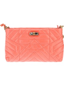 Quilted Shoulder Bag - predominant colour: coral; occasions: casual, evening, holiday; type of pattern: standard; style: shoulder; length: across body/long; size: standard; material: leather; embellishment: quilted; pattern: plain; finish: plain