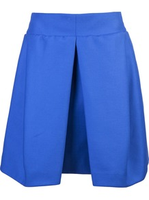 Volume Skirt - pattern: plain; style: full/prom skirt; fit: loose/voluminous; waist detail: wide waistband/cummerbund; waist: high rise; predominant colour: diva blue; occasions: casual, evening; length: just above the knee; fibres: cotton - 100%; hip detail: structured pleats at hip; texture group: crepes; trends: volume; pattern type: fabric