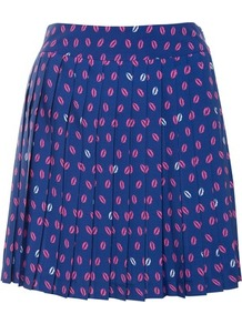 Navy Molly Pleat Print Mini - length: mid thigh; style: pleated; waist: mid/regular rise; secondary colour: pink; predominant colour: royal blue; occasions: casual, work; fibres: polyester/polyamide - 100%; hip detail: structured pleats at hip; waist detail: narrow waistband; fit: straight cut; pattern type: fabric; pattern size: small & busy; pattern: patterned/print; texture group: jersey - stretchy/drapey