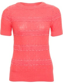 Coral Lady Lace Jumper - style: standard; predominant colour: coral; occasions: casual, work; length: standard; fibres: acrylic - mix; fit: slim fit; neckline: crew; sleeve length: short sleeve; sleeve style: standard; texture group: knits/crochet; pattern type: fabric; pattern size: small &amp; light; pattern: patterned/print; embellishment: lace