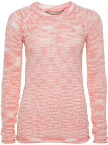 Coral Roll Hem Raglan Jumper - neckline: round neck; sleeve style: raglan; pattern: plain; length: below the bottom; style: standard; predominant colour: coral; occasions: casual, work; fibres: acrylic - mix; fit: standard fit; sleeve length: long sleeve; texture group: knits/crochet; pattern type: knitted - fine stitch
