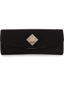Ted Baker Tilsley Crystal Clutch - predominant colour: black; occasions: evening, occasion; style: clutch; length: hand carry; size: small; material: fabric; pattern: plain; finish: plain; embellishment: jewels