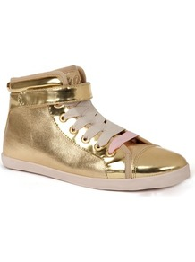 Ted Baker Apelo Lace Up Hi Top - predominant colour: gold; occasions: casual; material: leather; heel height: flat; ankle detail: ankle strap; toe: round toe; style: trainers; trends: sporty redux, metallics; finish: metallic; pattern: plain