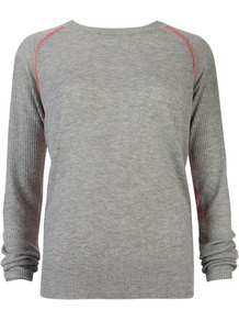 Ted Baker Shenn Colour Block Knit - neckline: round neck; style: standard; back detail: contrast pattern/fabric at back; secondary colour: coral; predominant colour: light grey; occasions: casual, work; length: standard; fit: standard fit; sleeve length: long sleeve; sleeve style: standard; texture group: knits/crochet; pattern type: knitted - fine stitch; pattern: colourblock; fibres: viscose/rayon - mix