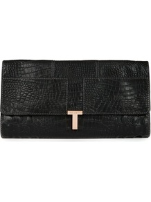 Ted Baker Taleeka Embossed Leather Clutch - predominant colour: black; occasions: evening, occasion; type of pattern: standard; style: clutch; length: hand carry; size: standard; material: leather; pattern: animal print; finish: plain