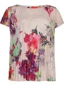 Ted Baker Shelbie Treasured Orchid Printed Top - neckline: slash/boat neckline; sleeve style: capped; secondary colour: true red; predominant colour: nude; occasions: evening, occasion, holiday; length: standard; style: top; fibres: polyester/polyamide - 100%; fit: loose; sleeve length: short sleeve; texture group: silky - light; trends: high impact florals; pattern type: fabric; pattern size: big & busy; pattern: patterned/print