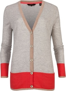 Ted Baker Evisa Colour Block Cardigan - neckline: low v-neck; length: below the bottom; bust detail: buttons at bust (in middle at breastbone)/zip detail at bust; secondary colour: true red; predominant colour: light grey; occasions: casual, work; style: standard; fit: standard fit; sleeve length: long sleeve; sleeve style: standard; texture group: knits/crochet; pattern type: knitted - fine stitch; pattern size: big & light; pattern: colourblock; fibres: viscose/rayon - mix