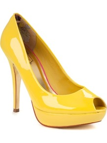 Ted Baker Svana Peep Toe Platform - predominant colour: yellow; occasions: evening, occasion, holiday; material: leather; heel height: high; heel: stiletto; toe: open toe/peeptoe; style: courts; finish: patent; pattern: plain