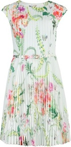 Ted Baker Perlaa Wallpaper Floral Print Dress - sleeve style: capped; waist detail: belted waist/tie at waist/drawstring; predominant colour: white; secondary colour: dark green; occasions: casual, occasion; length: just above the knee; fit: soft a-line; style: fit & flare; fibres: polyester/polyamide - 100%; neckline: crew; hip detail: sculpting darts/pleats/seams at hip; sleeve length: short sleeve; texture group: sheer fabrics/chiffon/organza etc.; pattern type: fabric; pattern size: standard; pattern: florals