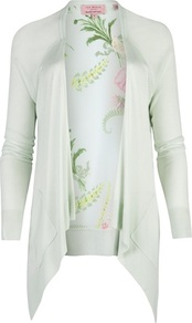 Ted Baker Cleme Wallpaper Floral Print Wrap - neckline: waterfall neck; length: below the bottom; back detail: contrast pattern/fabric at back; style: open front; predominant colour: pistachio; occasions: casual, evening, work, holiday; fibres: viscose/rayon - 100%; fit: loose; sleeve length: long sleeve; sleeve style: standard; texture group: knits/crochet; pattern type: knitted - fine stitch; pattern size: big & light; pattern: florals