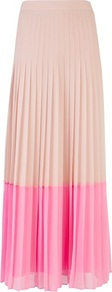 Ted Baker Petrus Colour Block Maxi Skirt - fit: body skimming; style: pleated; waist: mid/regular rise; secondary colour: pink; predominant colour: nude; occasions: casual, work, holiday; length: floor length; fibres: polyester/polyamide - 100%; hip detail: structured pleats at hip; texture group: sheer fabrics/chiffon/organza etc.; pattern type: fabric; pattern size: big & light; pattern: colourblock