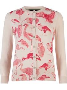 Ted Baker Fenella Bird Watching Cardigan - neckline: round neck; back detail: contrast pattern/fabric at back; bust detail: buttons at bust (in middle at breastbone)/zip detail at bust; predominant colour: ivory; secondary colour: pink; occasions: casual, evening, work, holiday; length: standard; style: standard; fibres: cotton - 100%; fit: standard fit; sleeve length: 3/4 length; sleeve style: standard; texture group: knits/crochet; pattern type: knitted - fine stitch; pattern size: big & light; pattern: patterned/print