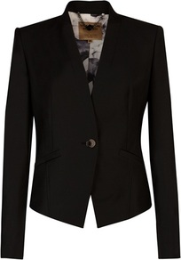 Ted Baker Tirri Shiny Suit Blazer - pattern: plain; style: single breasted blazer; collar: standard lapel/rever collar; predominant colour: black; occasions: casual, evening, work, occasion; length: standard; fit: tailored/fitted; fibres: wool - 100%; waist detail: fitted waist; sleeve length: long sleeve; sleeve style: standard; collar break: medium; pattern type: fabric; texture group: woven light midweight