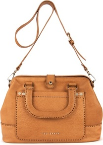 Ted Baker Foxell Stab Stitch Tote - predominant colour: tan; occasions: casual, work; type of pattern: standard; style: tote; length: across body/long; size: standard; material: leather; pattern: plain; finish: plain