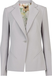 Ted Baker Siuna Crepe Suit Blazer - pattern: plain; style: single breasted blazer; length: below the bottom; collar: standard lapel/rever collar; predominant colour: mid grey; occasions: casual, evening, work, occasion; fit: tailored/fitted; fibres: polyester/polyamide - 100%; sleeve length: long sleeve; sleeve style: standard; collar break: medium; pattern type: fabric; texture group: woven light midweight