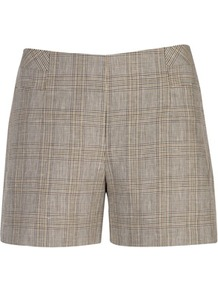 Ted Baker Nyota Mirco Check Shorts - pattern: checked/gingham; style: shorts; length: mid thigh shorts; waist: mid/regular rise; predominant colour: stone; occasions: casual, evening, work; fibres: linen - mix; texture group: linen; fit: straight leg; pattern type: fabric; pattern size: standard